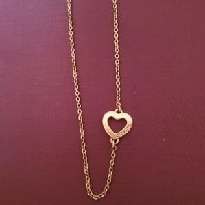 "Coach Silver Open Heart Charm 16"" Necklace"
